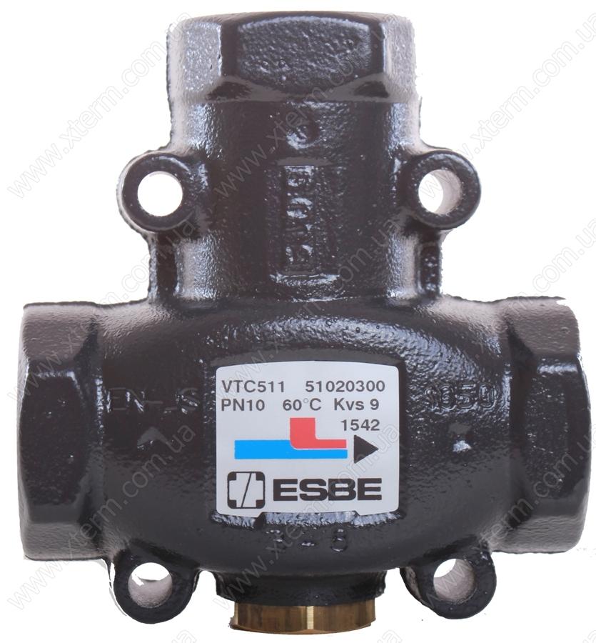 "ESBE VTC511 3-ходовой термический клапан T=60°C Rp 1"" Kvs 9 - 1"