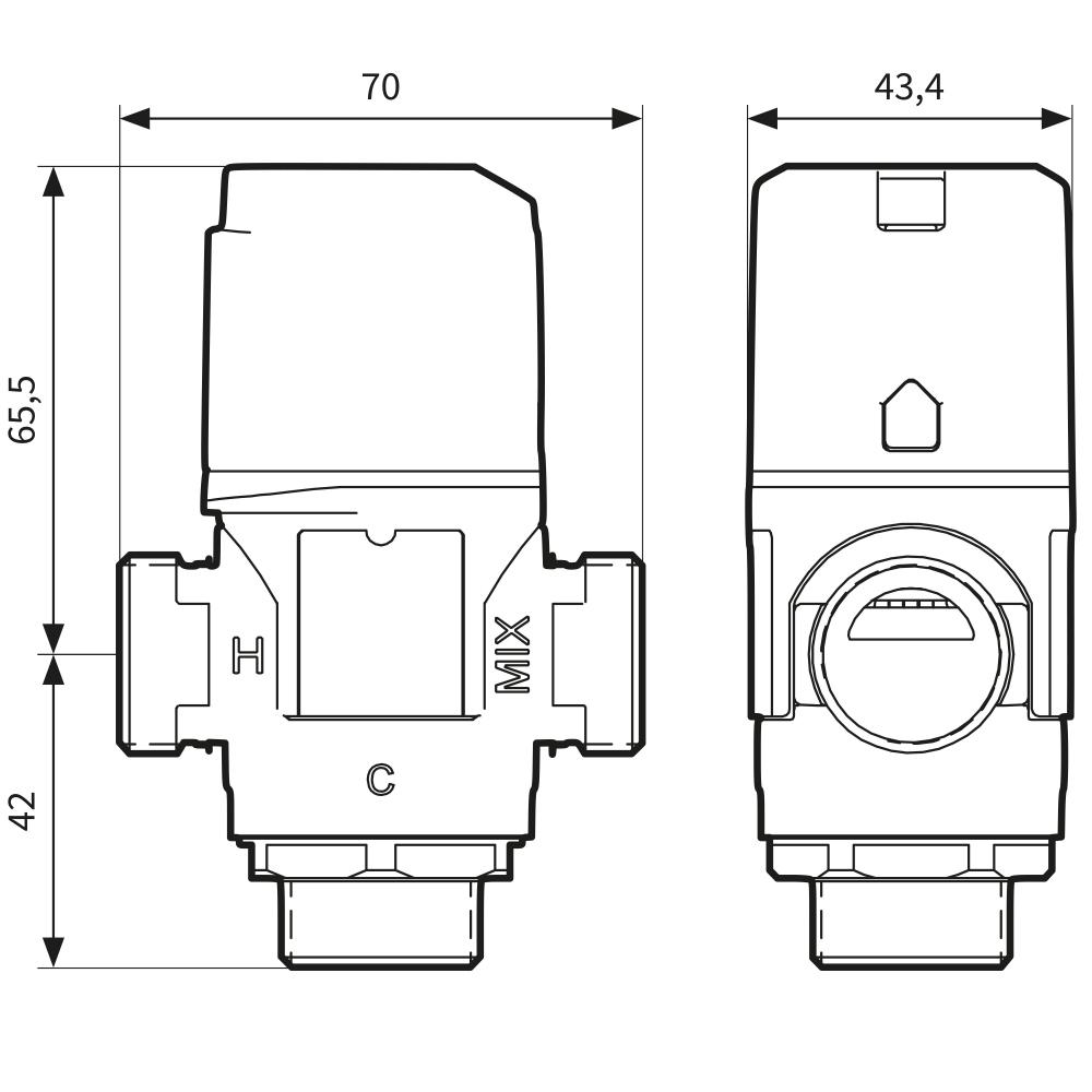 """Термостатический клапан 3/4"""" Afriso ATM333 с защитой от ожогов для ГВС T=35-60°C Rp 3/4"""" DN20 Kvs 1,6 1233310 - 6"""