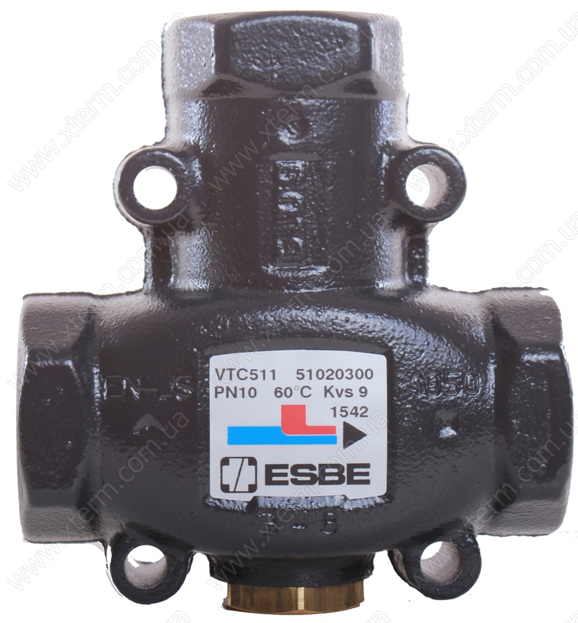 "ESBE VTC511 3-ходовой термический клапан T=75°C Rp 1"" Kvs 9 - 1"