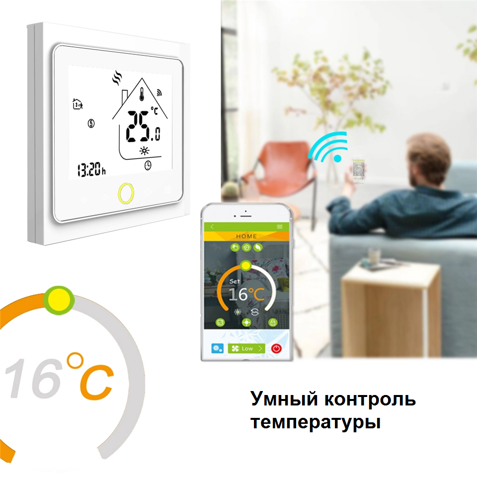 Беспроводной WIFI терморегулятор для водяного теплого пола Tervix 114221, программируемый. Умный дом. Голосовое управление - 2