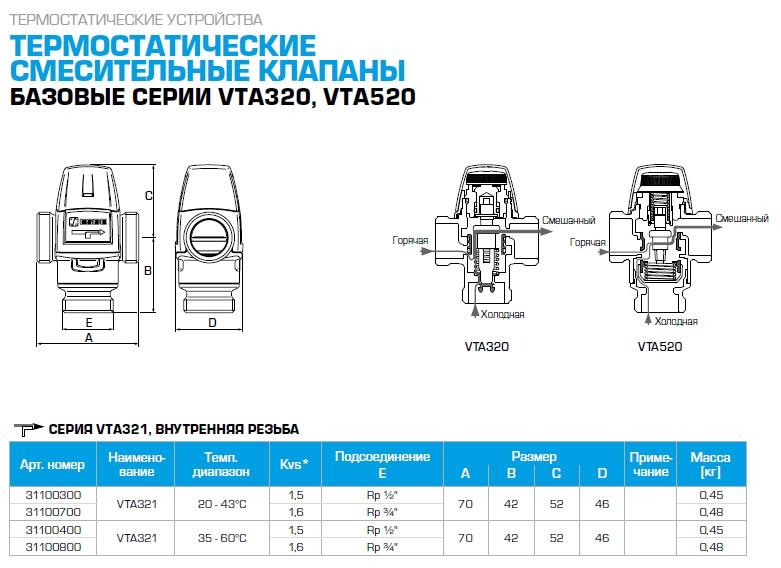 """Термостатический клапан 3/4"""" ESBE VTA321 с защитой от ожогов для ГВС T=20-43°C Rp 3/4"""" DN 20 Kvs 1,6 31100700 - 1"""