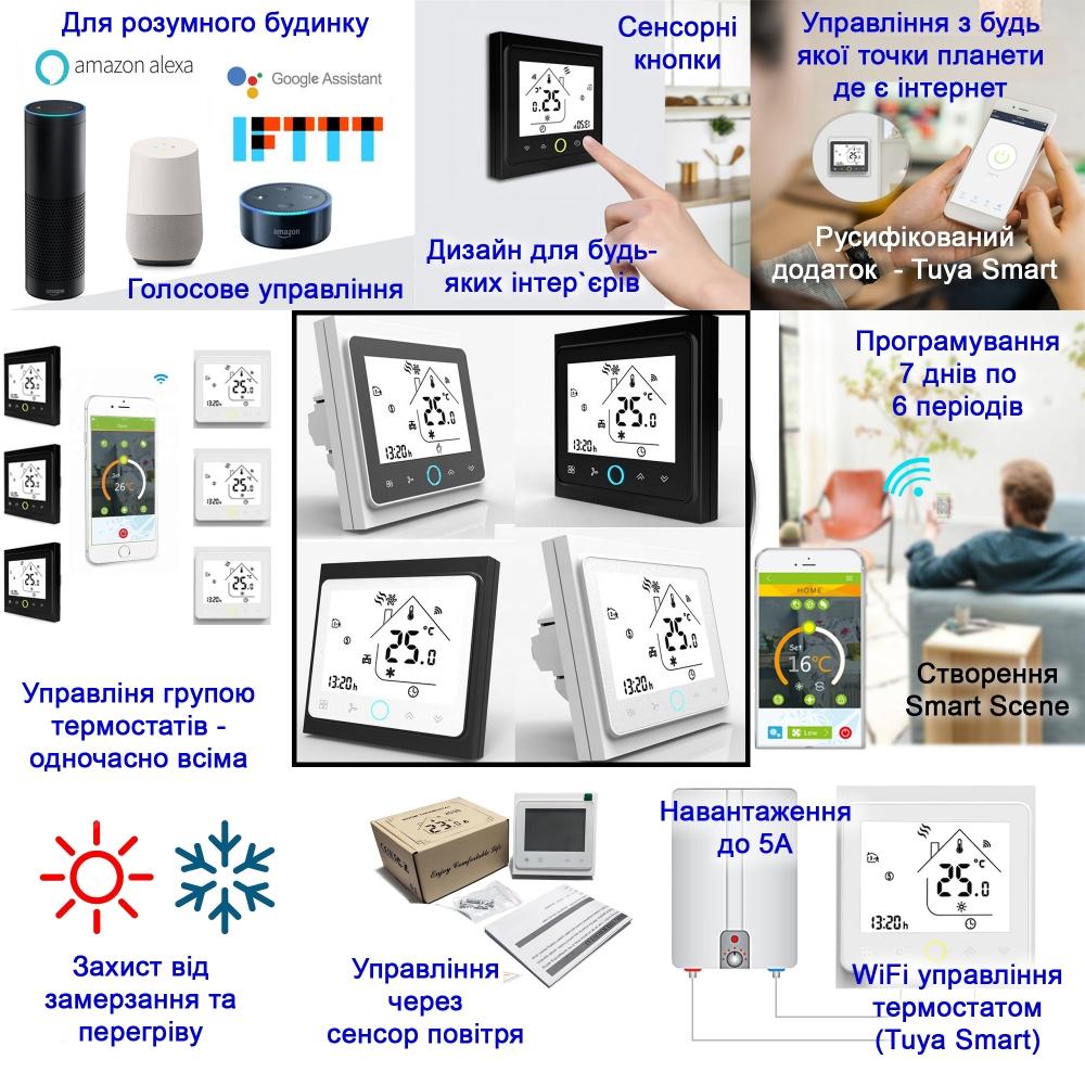 Умный дом: WIFI терморегулятор для газовых и электрических котлов Tervix 114321, программируемый. Умный дом. Беспроводное + голосовое управление - 1