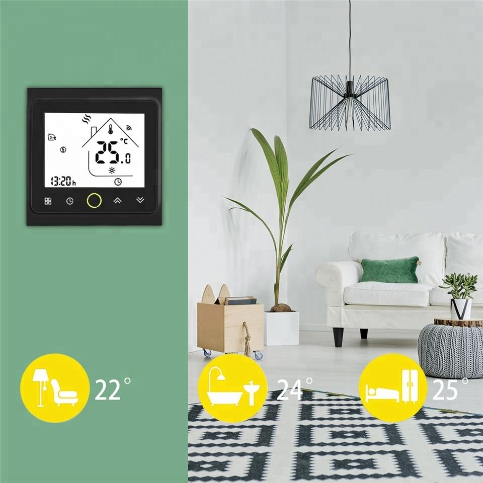 Умный дом: WIFI комнатный термостат для водяного / электрического теплого пола Tervix, датчик 3м, черный - 2