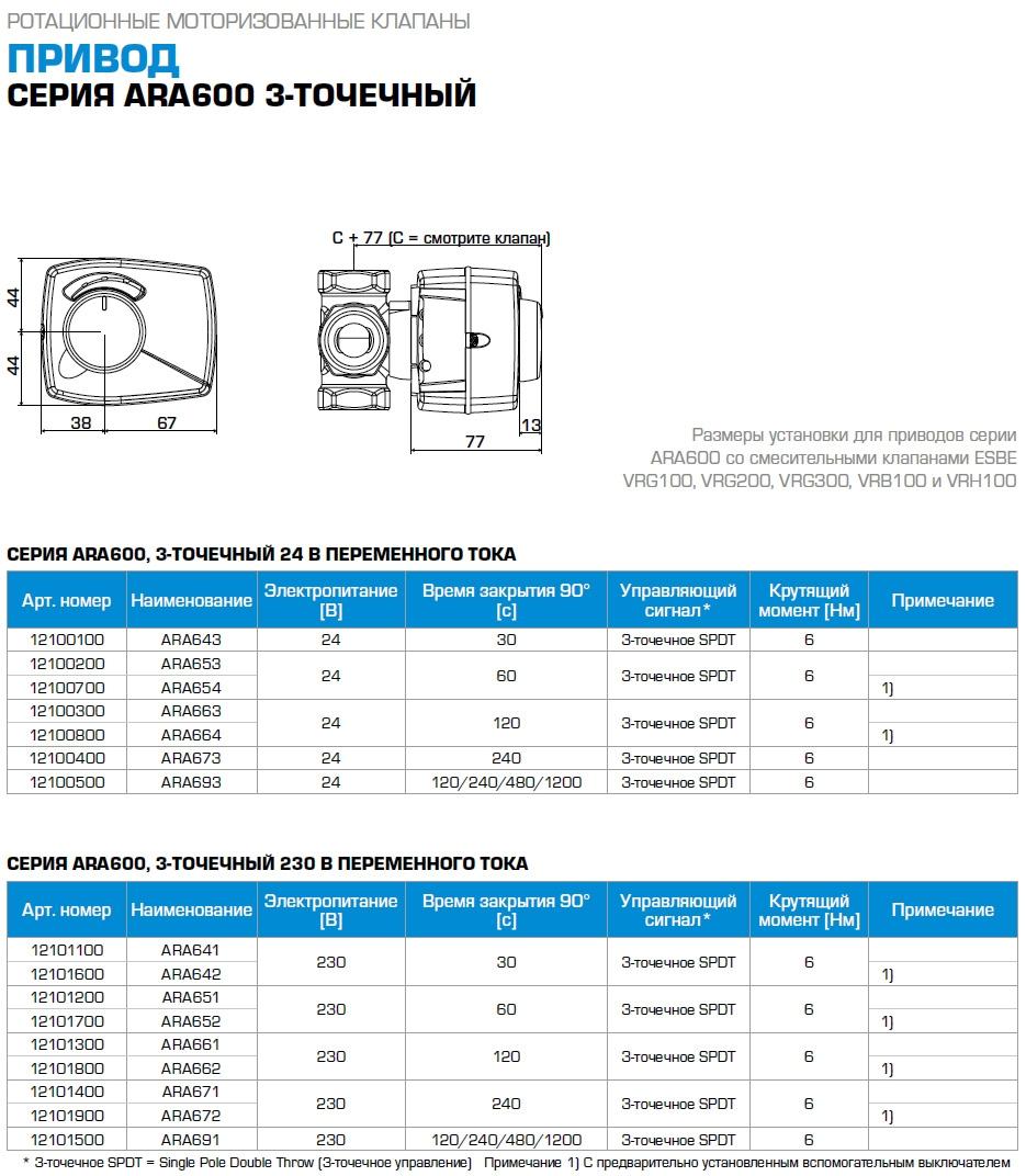 """Комплект Esbe: 3-ходовой клапан VRG131 Rp 1"""" DN25 kvs 10 и привод ARA661 3-точки, 230В, 120 сек - 1"""
