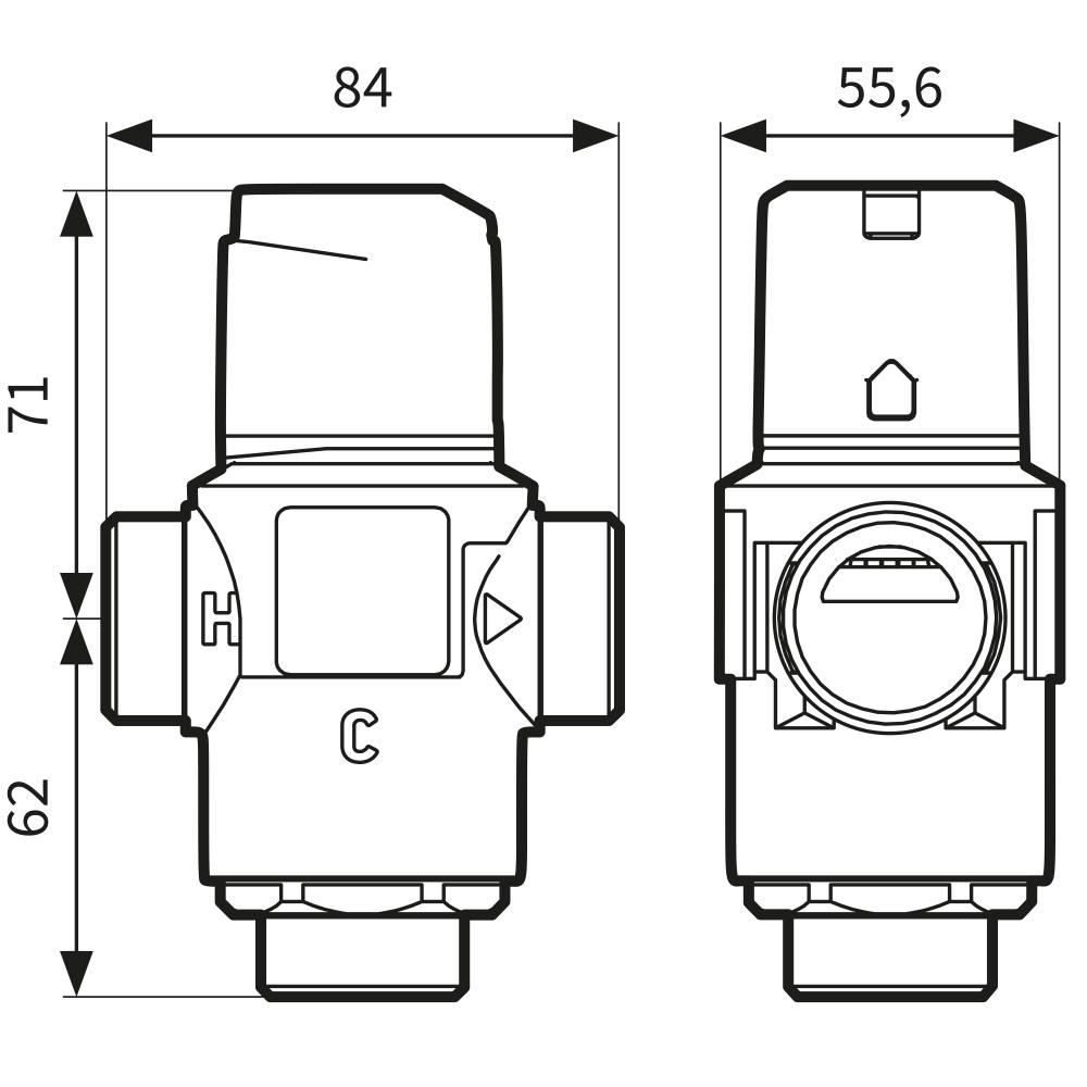 """Термостатический клапан 1 1/4"""" Afriso ATM883 с защитой от ожогов для ГВС 35-60°C G 1 1/4"""" DN25 Kvs 4,2 1288310 - 4"""
