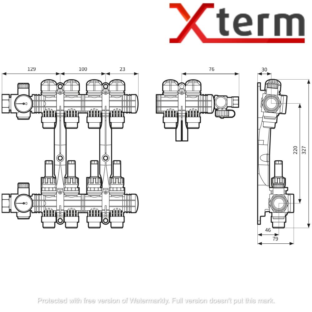 Коллектор на 6 контуров для подключения теплого пола ProCalida AFRISO EF 1/6  - 2