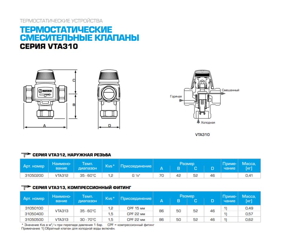 """Термостатический смесительный клапан 1/2"""" ESBE VTA312 для ГВС 35-60°C DN 15 Kvs 1,2 31050200 - 1"""