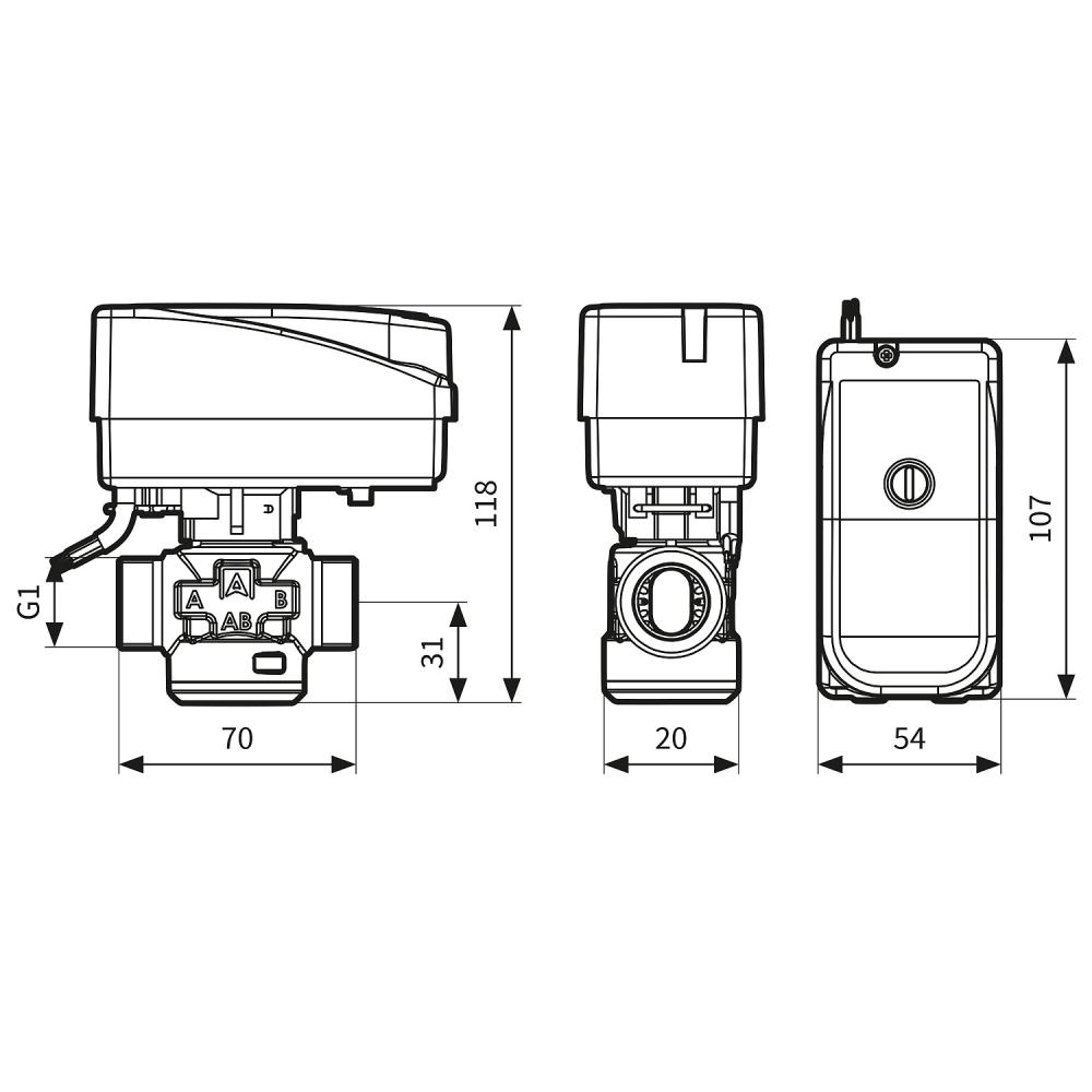"""Трехходовой зонный переключающий клапан Afriso AZV643 DN20, G1"""", kvs 8, 230В АС 2 точки, c кабелем - 2"""