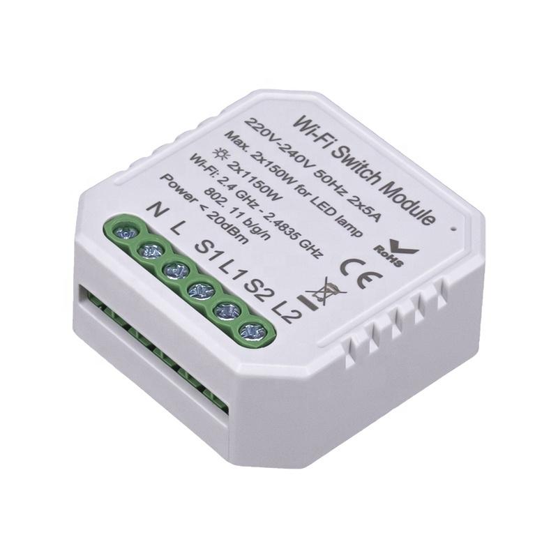 Умный дом: выключатель Tervix Pro Line WiFi Switch (2 клавиши) реле для скрытого монтажа - 1